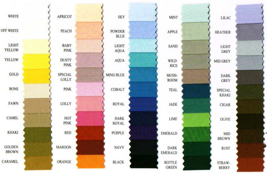 Poly Cotton Sheeting Colours